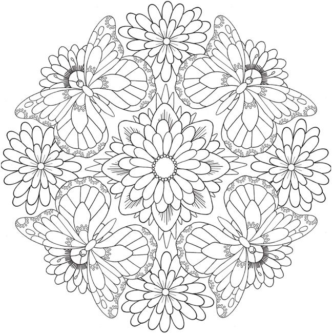 Free butterfly flower mandala printable coloring page from Dover - copy coloring pages flowers and butterflies