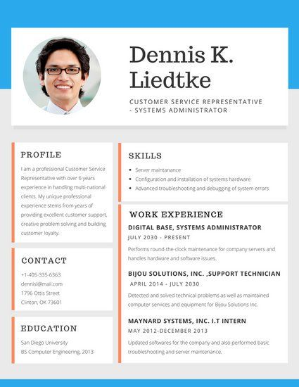 Simple Blue and Orange Blocks Customer Service Resume Botchi - customer service resume templates free