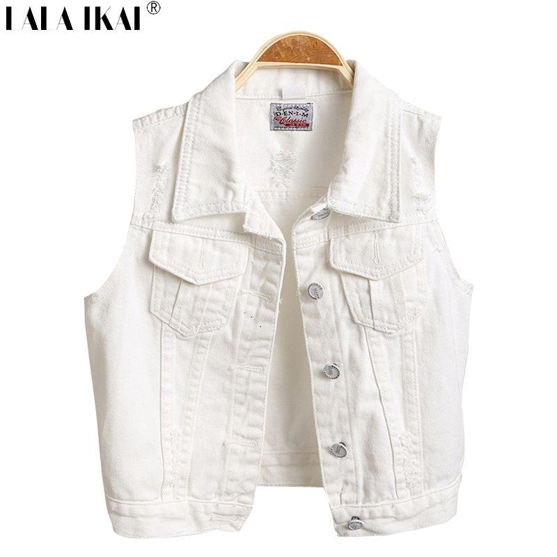 10756d674864dc Girl Vintage White Denim Vest Slim Ripped Jeans Vest Summer Women Sleeveless  Short Jacket SWE0037 5-in Vests   Waistcoats from Women s Clothing ...