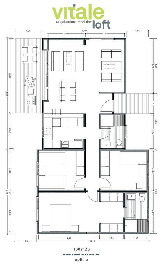 Modelo OPTIMA 100 m2 planos Pinterest Lofts