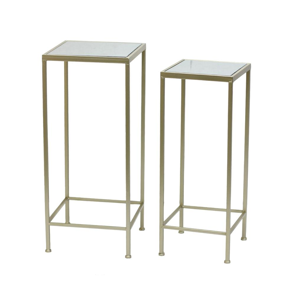 Three Hands 27 75 In Champagne Metal Mirrored Table Set Of