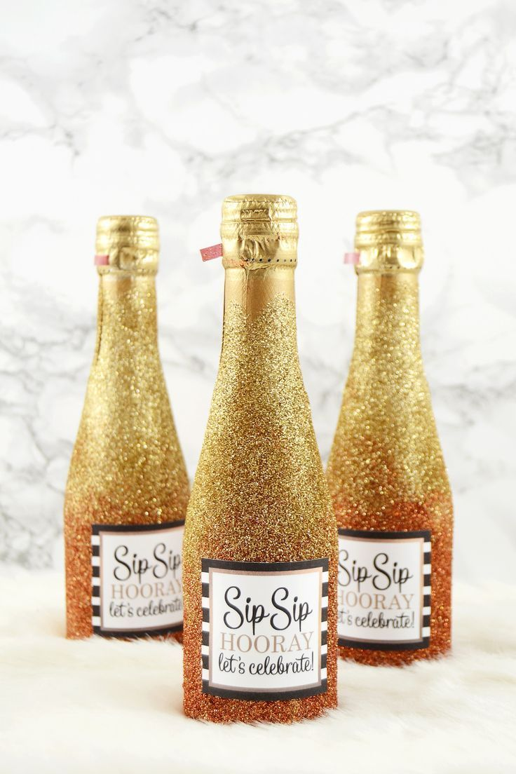 Glitter Mini Champagne Bottles for Party or Wedding