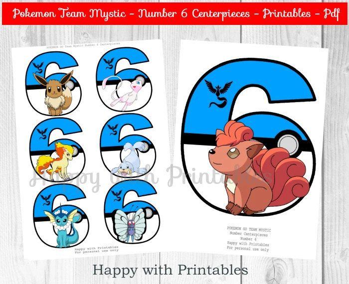 Pokemon GO Team Mystic Number 6 Centerpieces - Pokeball Centerpieces - Pokemon…