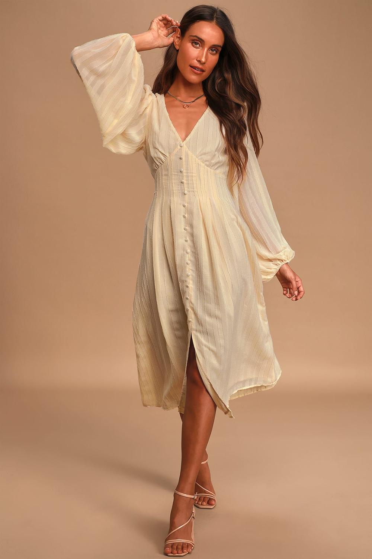 Cute Cream Midi Dress Long Sleeve Dress Button Front Dress Long Sleeve Midi Dress Long Sleeve Mini Dress Midi Dress [ 1500 x 1000 Pixel ]