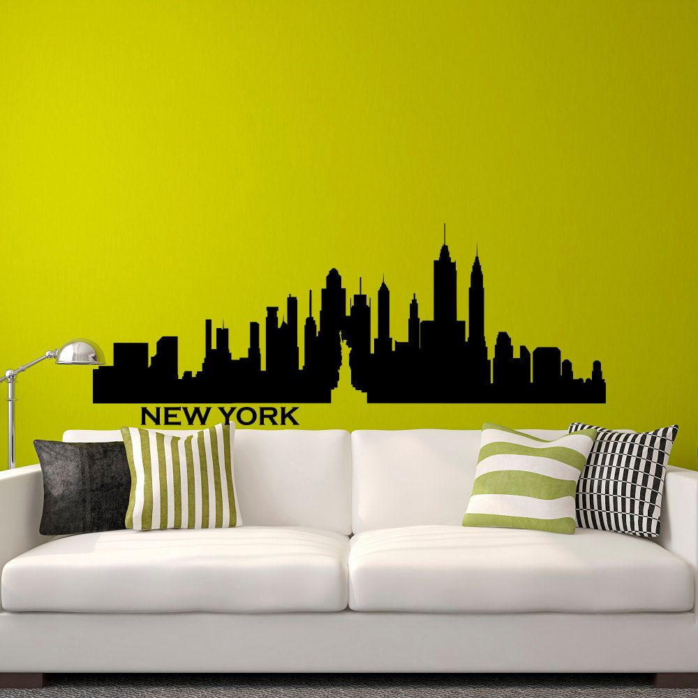 New York Skyline NYC Wall Decal City Silhouette New York Scape ...