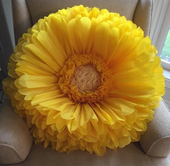 Giant Yellow Paper Gerbera Daisy Perfect For Event Decor Wedding