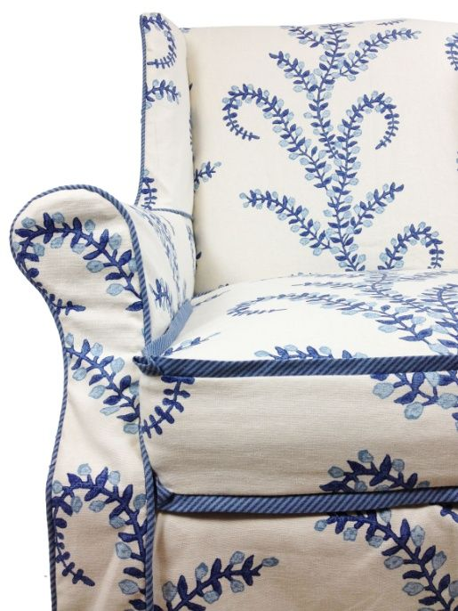 Blue And White Upholstered Chairs Living Room Side With Arms Not This Pattern But I Like A Similar Idea Printed Chair