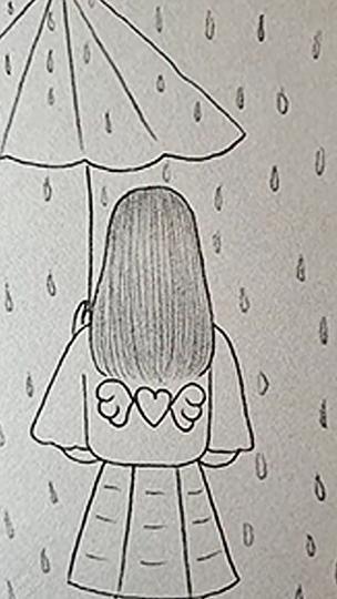 Photo of Pencil drawing, girl in the rain