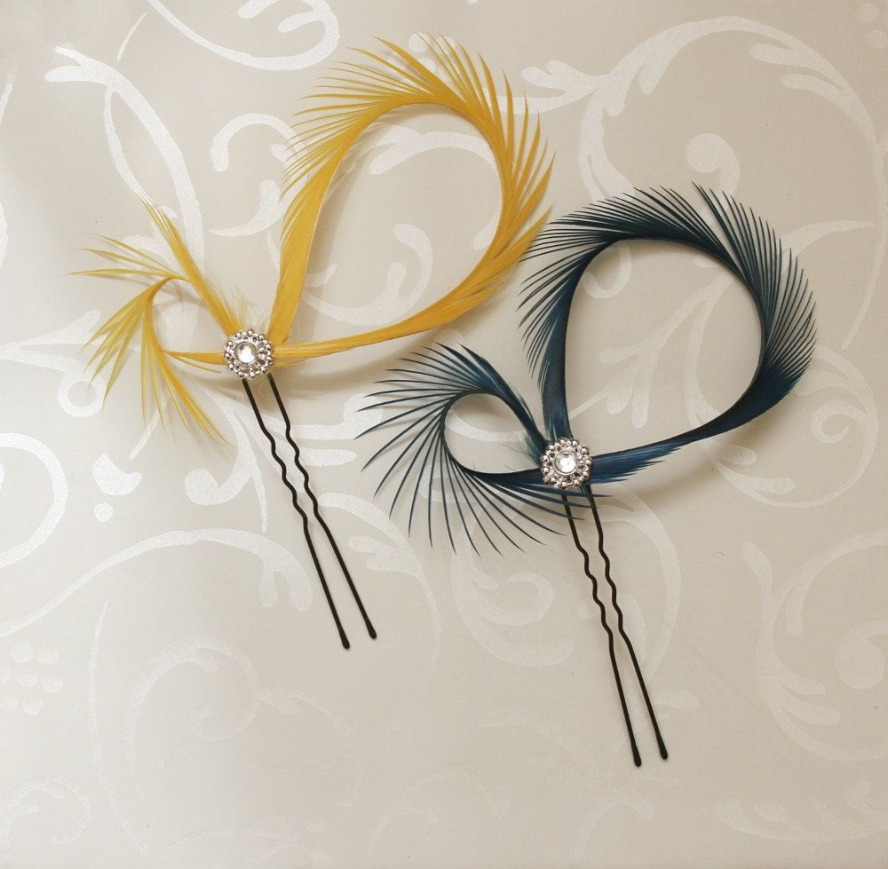 Yellow hair accessories for wedding - Feather Hair Pins Fascinator In Mustard Yellow And By Luciastofej 10 00