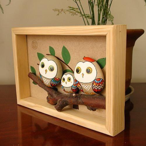hibou, owl | Cailloux peints, Artisanat en pierre