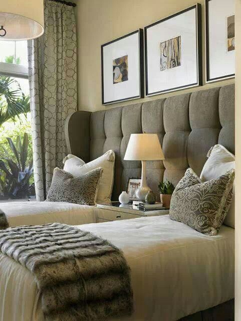 One Headboard 2 Twin Beds Gorgeous Guest Room Guest Bedroom Design Home Guest Bedrooms