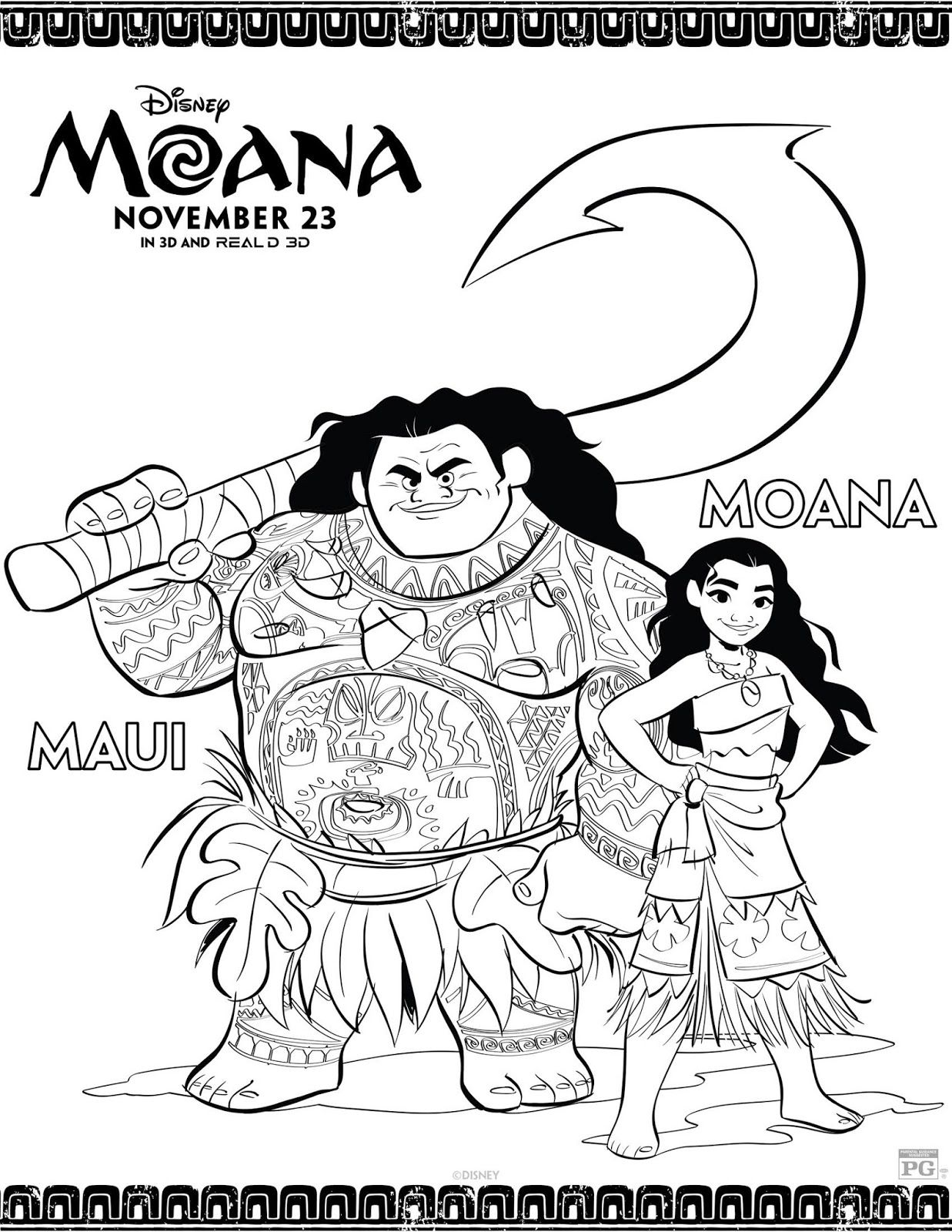 Moana Printable Coloring Activity Pages Moana Birthday Ideas