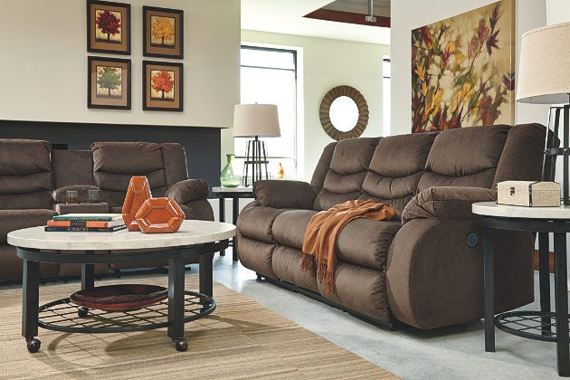 Chivington Reclining Sofa by Ashley HomeStore, Brown, Polyester (100
