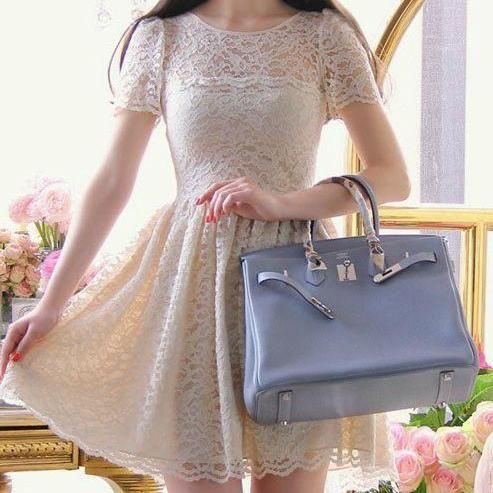 Vintage Style Short Sleeve Lace Dress