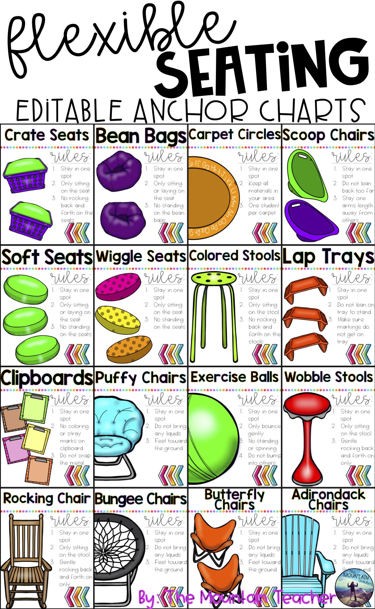 This resource includes everything you need to organize and implement flexible seating with your students there are large anchor charts posters use also editable teacher life classroom rh pinterest