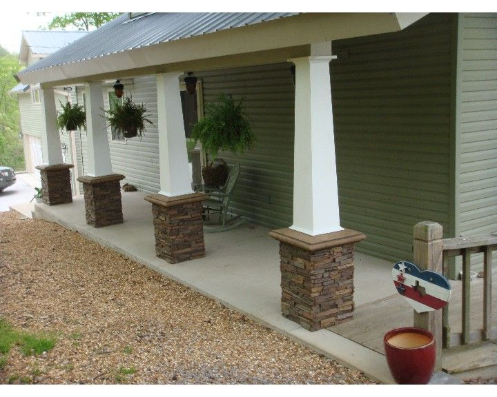 Stone Columns On A Older Style Brick Homes Porch Columns Transformed With