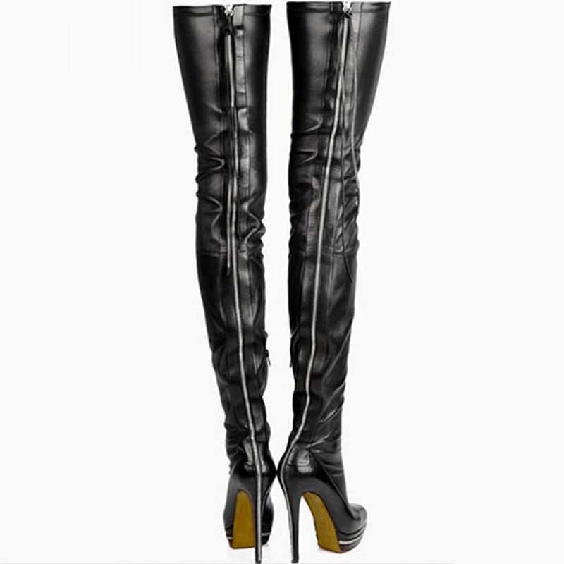 beeecc18d1d Women Boots Stretch PU Leather Over Knee High Party High Heels ...