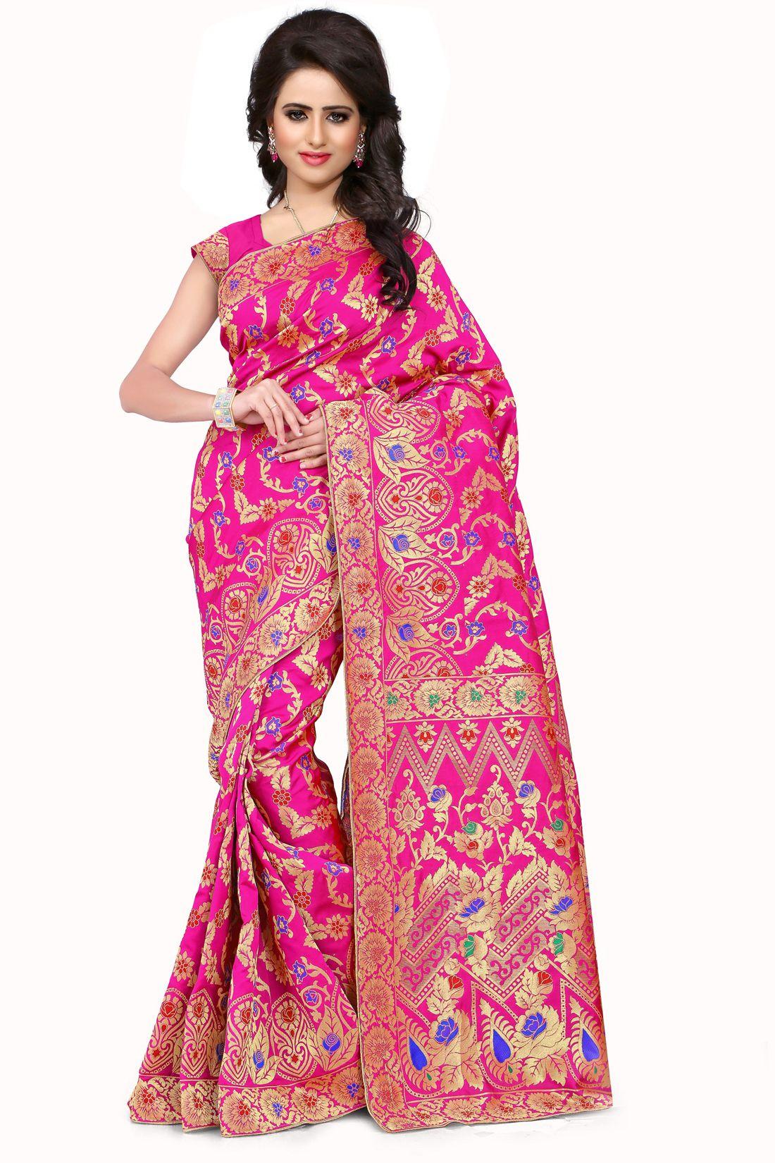 Tissue silk saree womenus banarasi silk pink jaal saree  modern trend of saree