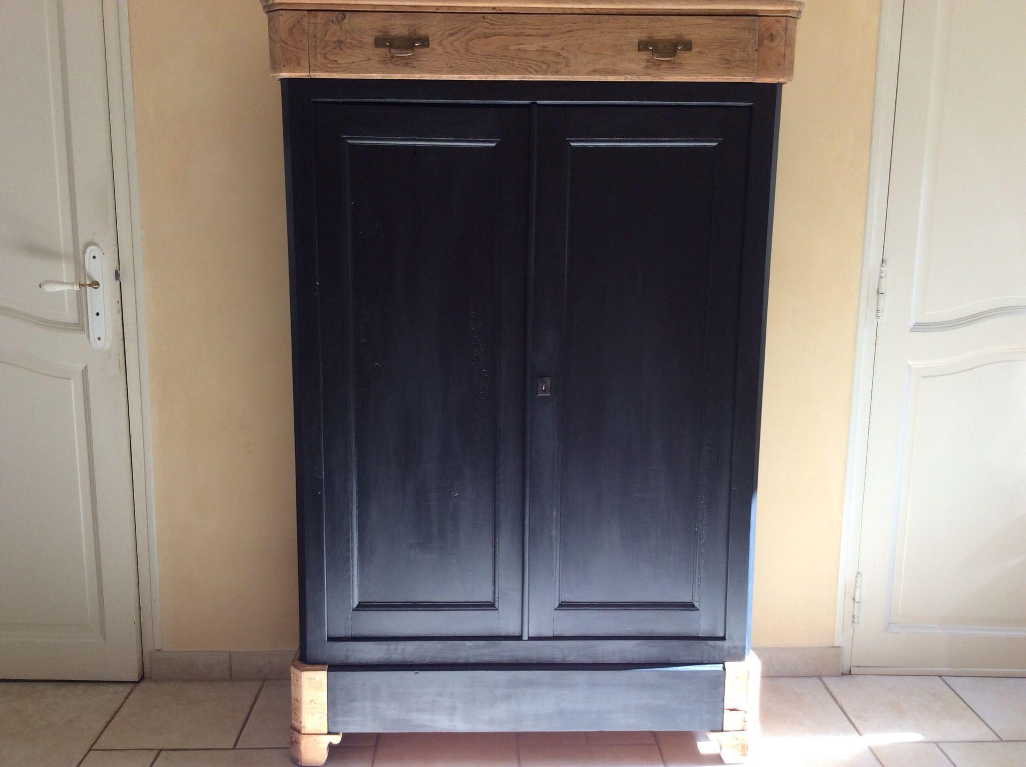 meuble peinture noir mat et bois
