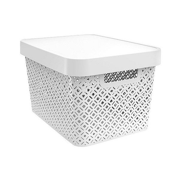 Superbe Decorative Bin ($7.99) ❤ Liked On Polyvore Featuring Home, Home Decor,  Small Item Storage, White, Stackable Plastic Storage Boxes, White Storage  Box, ...