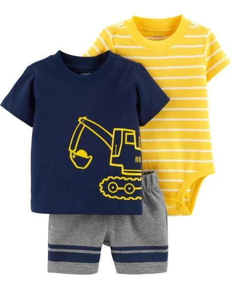 Simple Joys by Carters Toddler Boys 3-Piece Polo Tee and Shorts Playwear Set