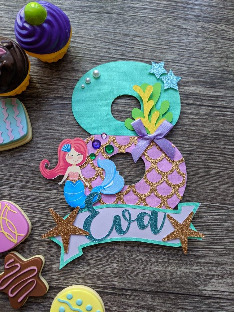 Mermaid Theme Little Mermaid Cake Topper Personalized Etsy In 2020 Mermaid Cake Topper Little Mermaid Cake Topper Diy Cake Topper
