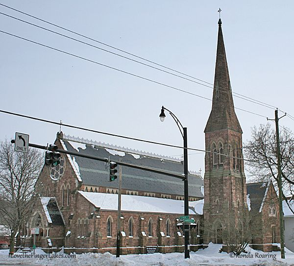 Zion Episcopal Church, one of four churches at the intersection of Main and Canandaigua streets in Palmyra.