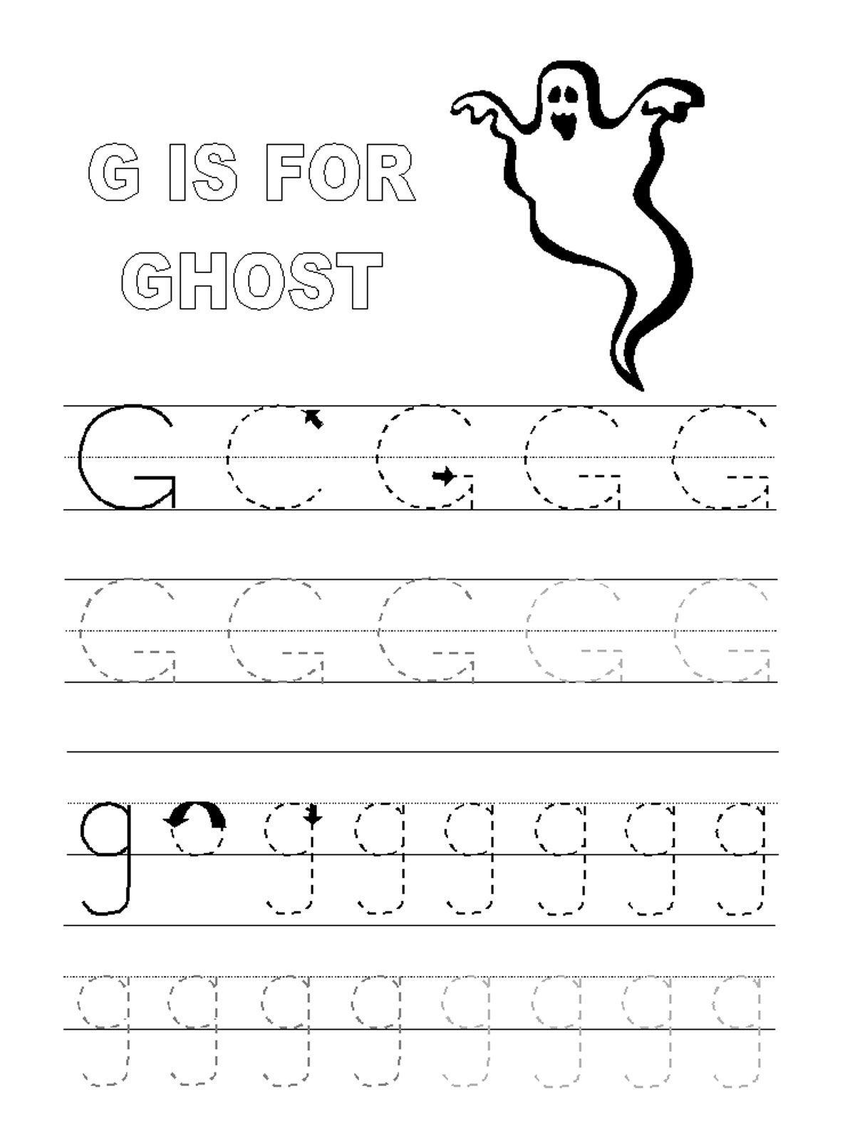 Trace Letter G Worksheets In