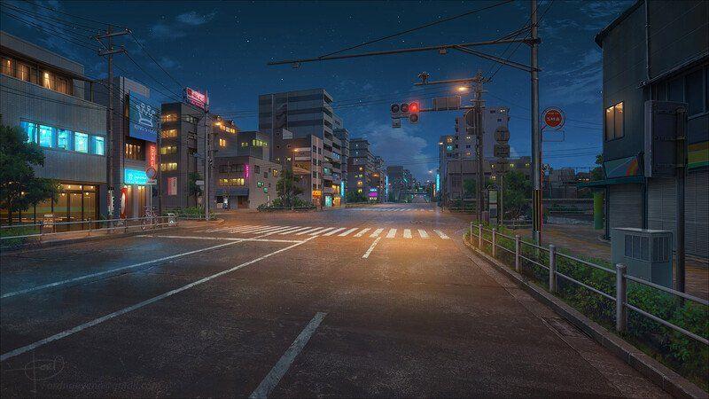 Artstation City Anime Background Art Ford Nguyen Scenery Background Anime Scenery Anime Scenery Wallpaper City anime scenery wallpaper