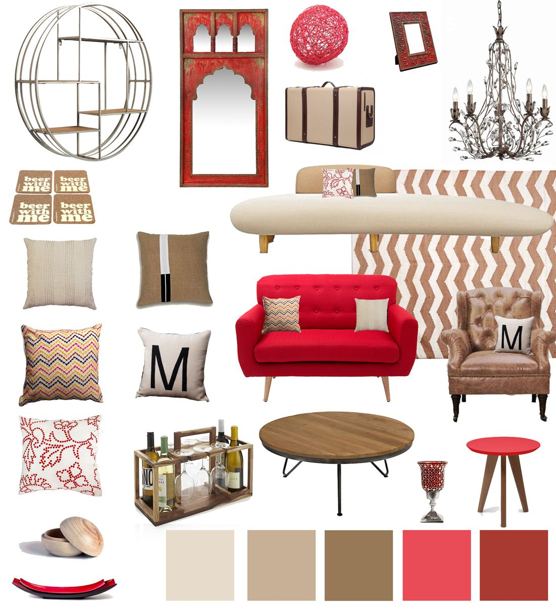 Red Tan Beige Living Room Decor