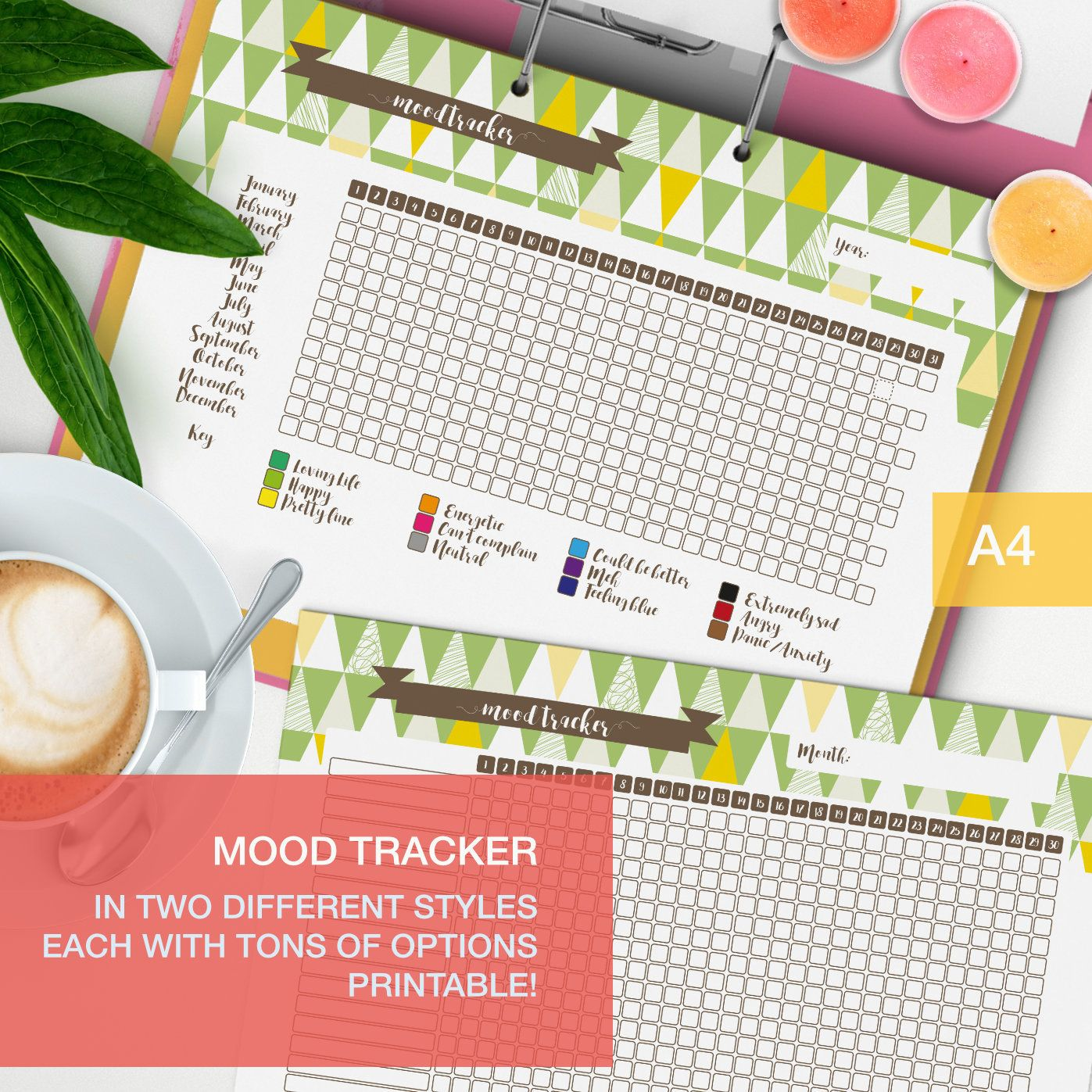 Mood tracker printable! A nice and cute mood chart to keep track of several aspects of your life, perfect for your planner or bullet journal.    #lifeplanner #moodtracker #plannerpage #selfcare #planner