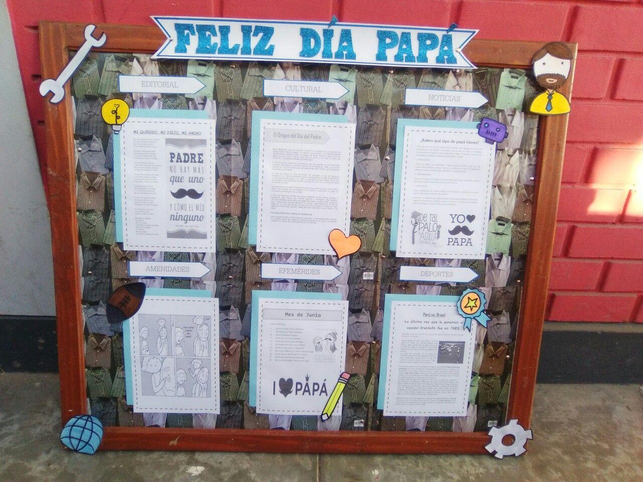 periodico mural para el dia del padre con los contenidos