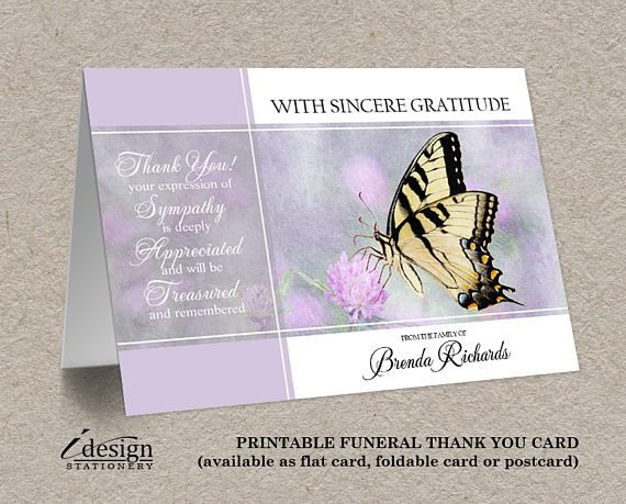 Funeral Thank You Card Mourning And Funeral Thank You Notes