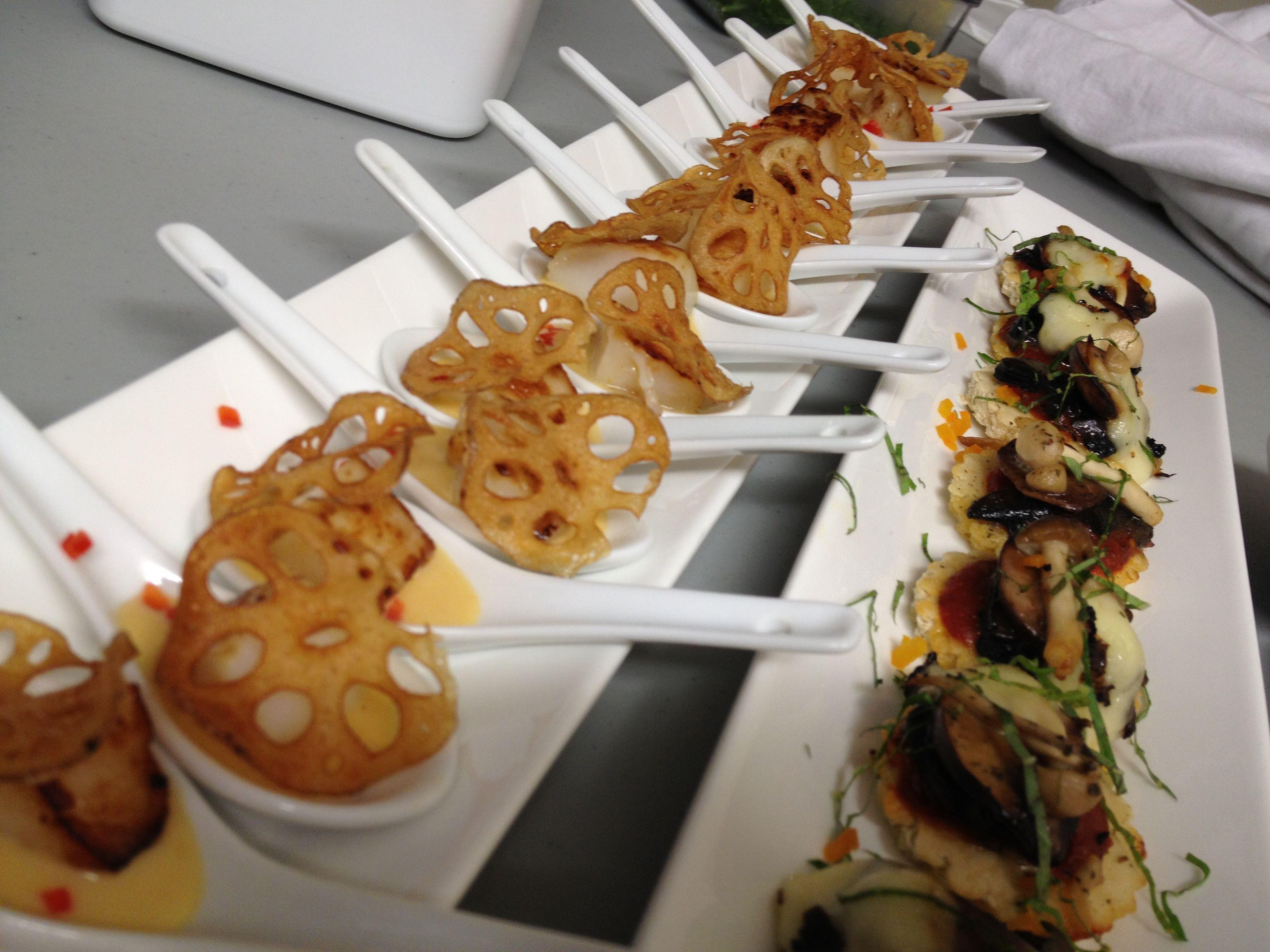Seared Scallops Crisp Lotus Root and Foraged Mushroom Pizzettas