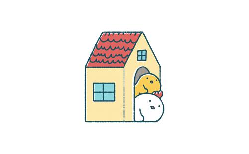 ゆるいにわとりとひよこは家から顔を出す イラストエッセイのaieku