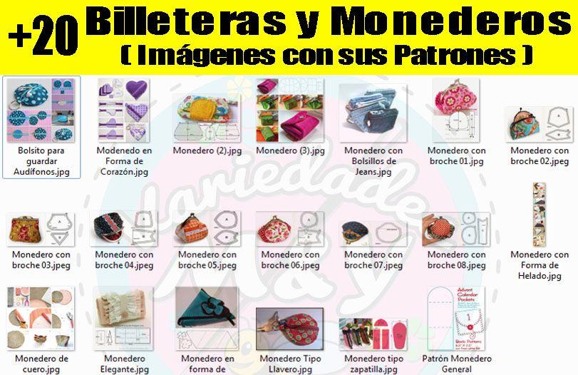 Patrones Moldes Bolsos Carteras Monederos Portacosméticos Y+ - Bs ...
