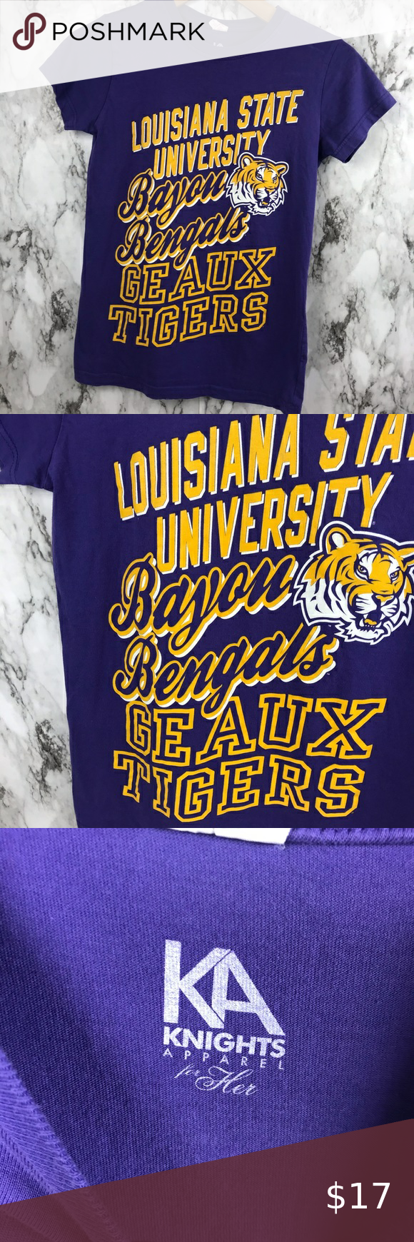 """LSU TIGERS Graphic College Shirt Top Size M Size Medium Pit to pit 15"""" Length is 24"""" #003 Tops Tees - Short Sleeve"""