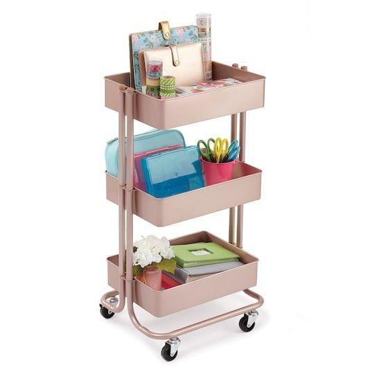 Rose Gold Lexington 3 Tier Rolling Cart By Recollections Michaels Office Supply Organization Ikea Raskog Raskog Cart