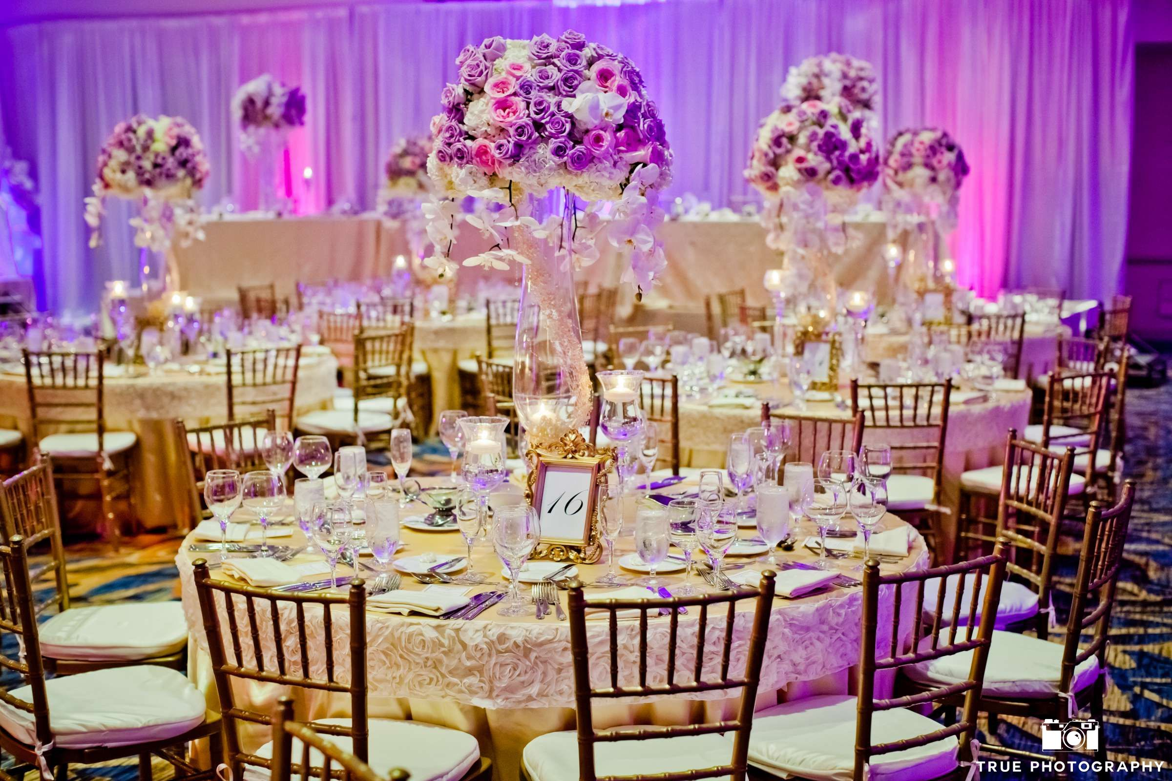 Purple Flower Centerpiece Round Table Setup Wedding Tables San Diego Planner