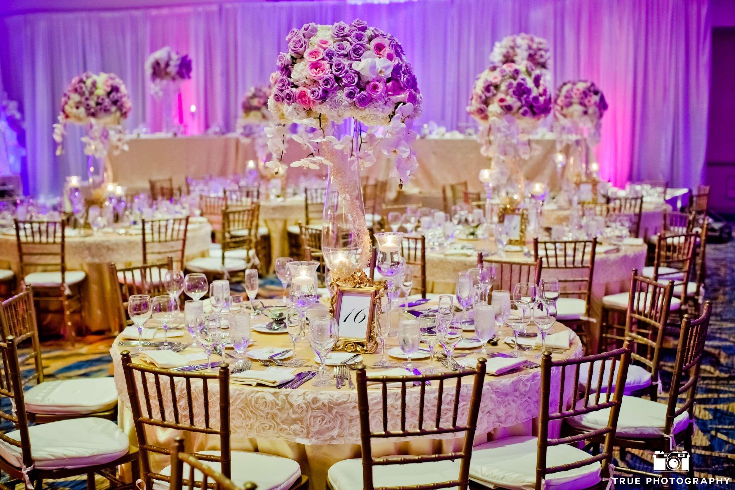 Purple Flower Centerpiece Round Table Setup Purple Wedding