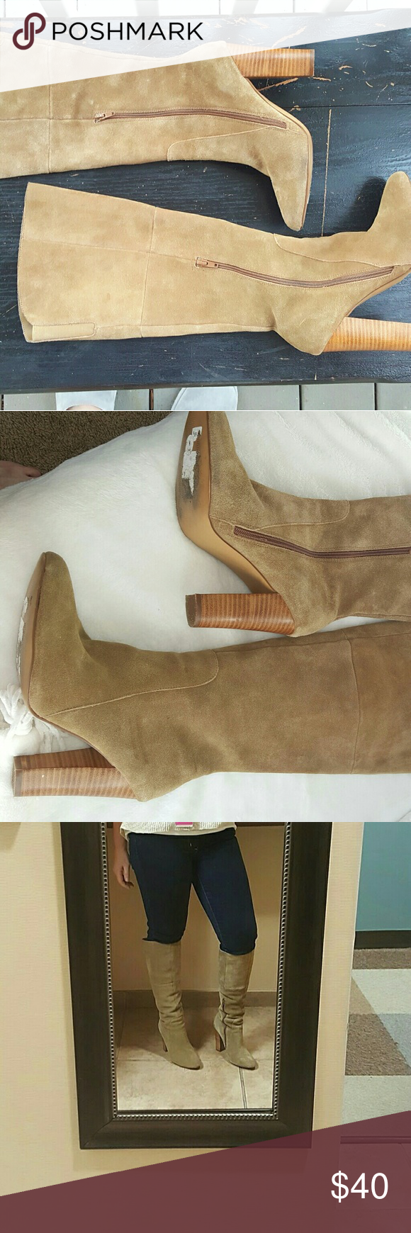 """Cynthia Rowley Suede Boots Worn 2x, perfect condition camel suede boots, classic, 4.25"""" stacked heel Partial side zip 15.25"""" shaft Lightly padded footbed. 16"""" circumference at the top. Elastic gore for a little added room at the top. Cynthia Rowley Shoes Heeled Boots"""
