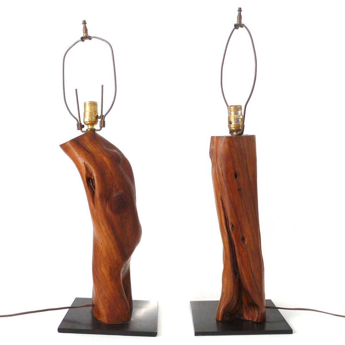 Tree Branch Lamp Pair Wood Base