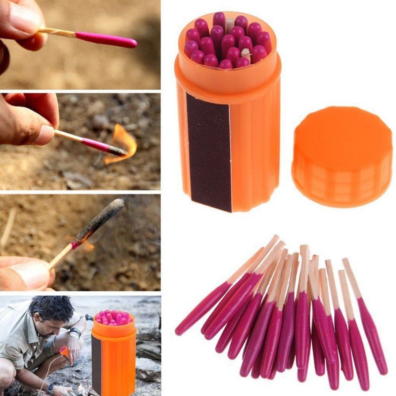 Waterproof Outdoor Camping Emergency Survival Lighter Kit Gear Storm Matches