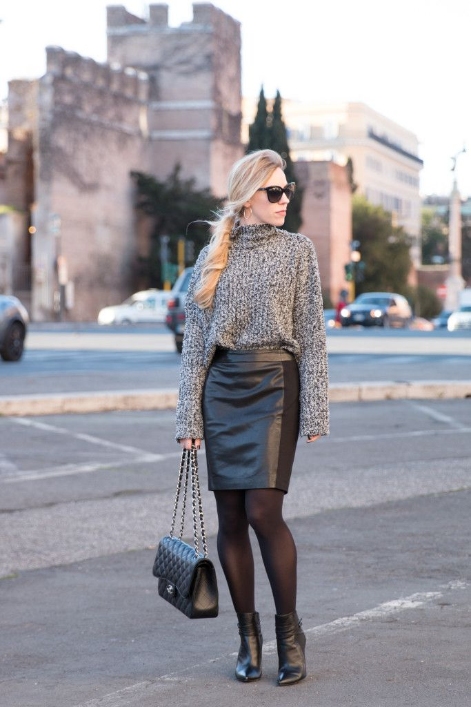 Glam Texture: oversized turtleneck with leather pencil skirt, how ...