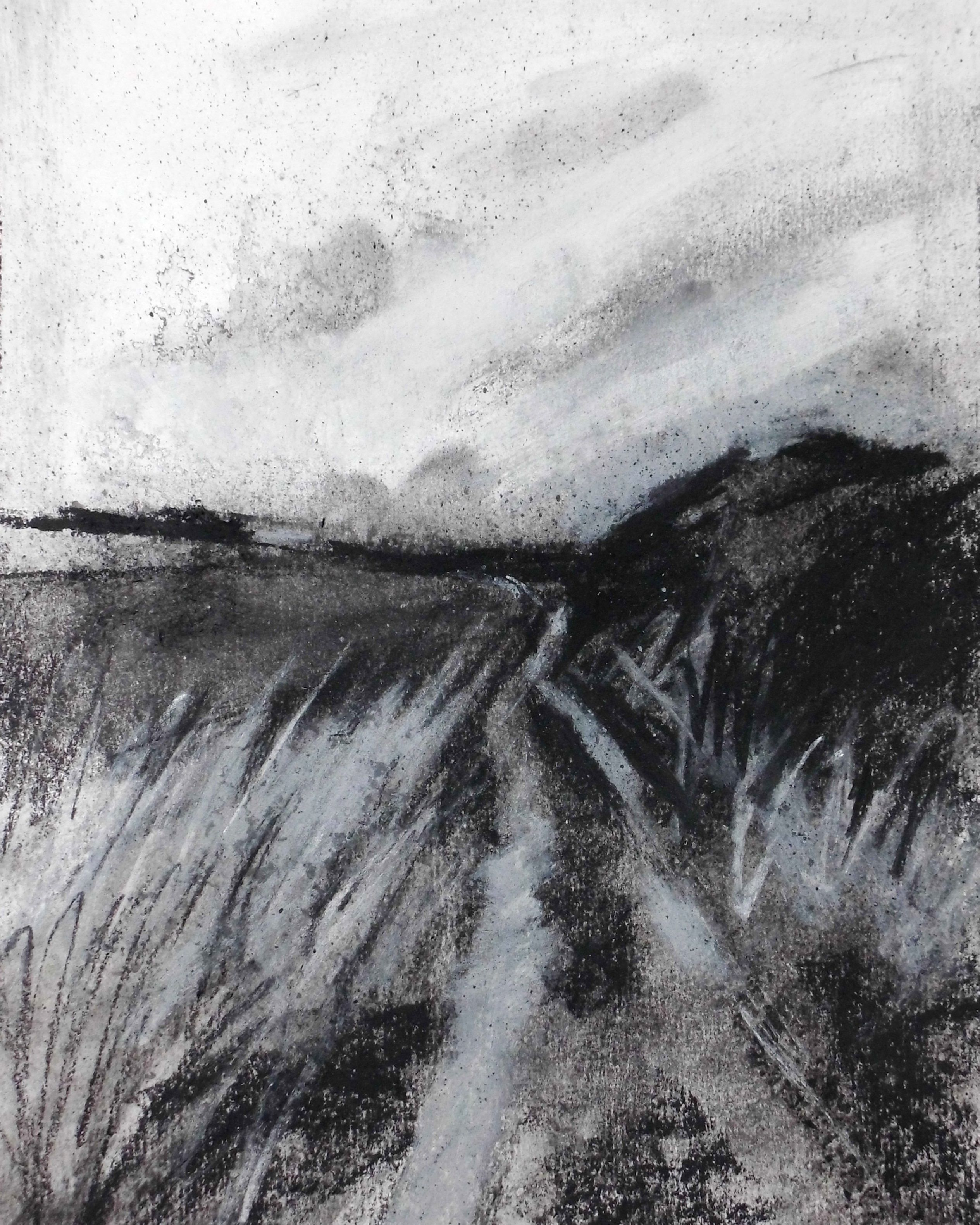 Contemporary landscape drawing charcoal on paper 8 x 10 for Example of landscape drawing