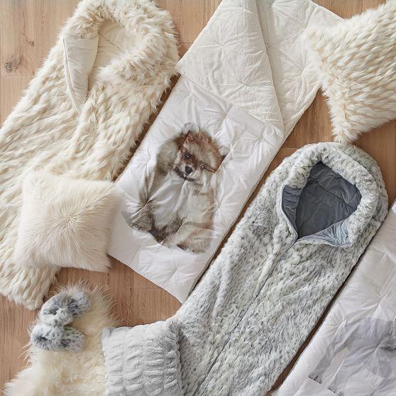 400056fd0d Gray Leopard Faux-Fur Sleeping Bag