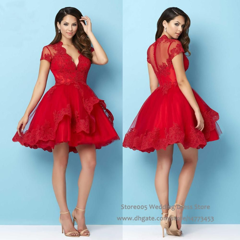 2016 Christmas Puffy Red Homecoming Short Dress for Party Lace Semi ...