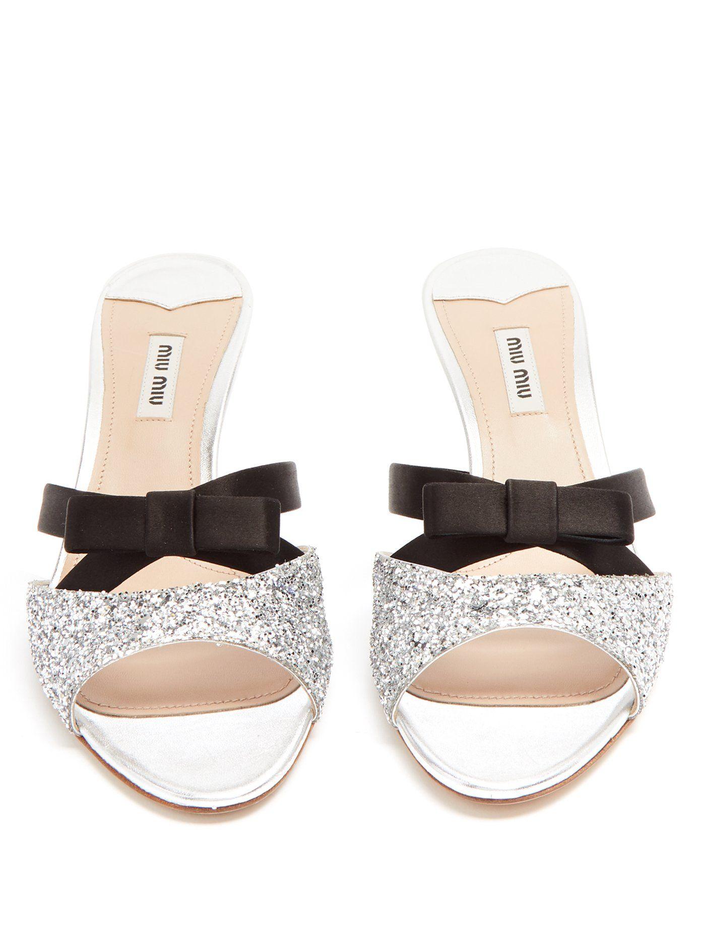 Glitter-embellished leather mules Miu Miu A7TQpF