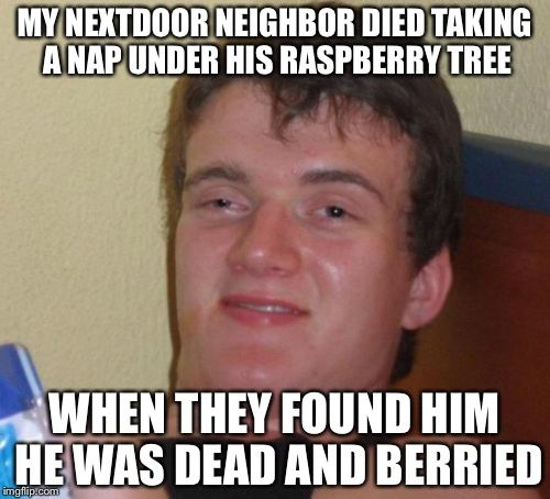My Nextdoor Neighbor Died Taking A Nap Under His Raspberrytree When They Found Him He Was Dead Berried Let Funny Pictures How High Are You 10 Guy Meme