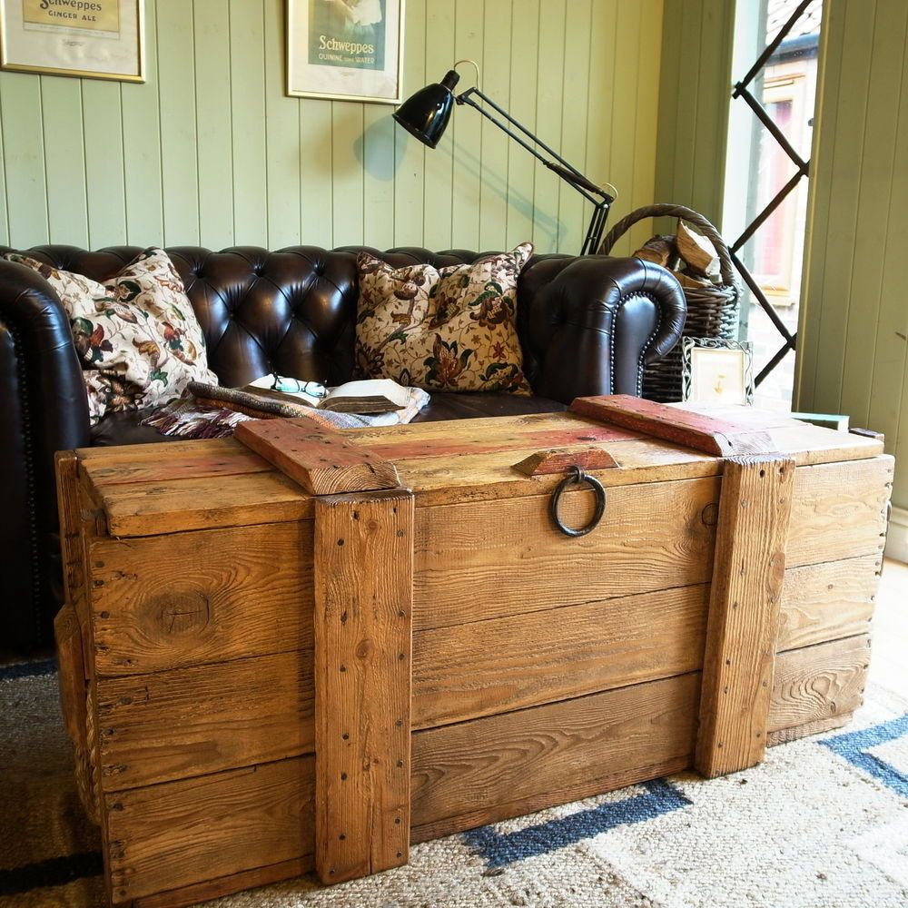 RUSTIC PLANK CHEST storage trunk INDUSTRIAL PINE CHEST ...